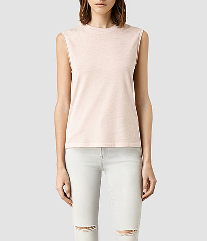 Elm Devo Tank - pattern: plain; sleeve style: sleeveless; predominant colour: blush; occasions: casual; length: standard; style: top; fibres: cotton - mix; fit: body skimming; neckline: crew; sleeve length: sleeveless; pattern type: fabric; texture group: jersey - stretchy/drapey; season: s/s 2016; wardrobe: basic