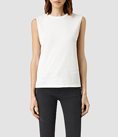 Elm Devo Tank - pattern: plain; sleeve style: sleeveless; predominant colour: white; occasions: casual; length: standard; style: top; fibres: cotton - mix; fit: body skimming; neckline: crew; sleeve length: sleeveless; texture group: knits/crochet; pattern type: fabric; season: s/s 2016; wardrobe: basic