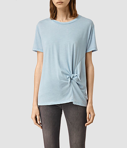 Ashley Devo Tee - pattern: plain; length: below the bottom; style: t-shirt; waist detail: twist front waist detail/nipped in at waist on one side/soft pleats/draping/ruching/gathering waist detail; predominant colour: pale blue; occasions: casual; fibres: cotton - stretch; fit: body skimming; neckline: crew; sleeve length: short sleeve; sleeve style: standard; pattern type: fabric; texture group: jersey - stretchy/drapey; season: s/s 2016; wardrobe: highlight