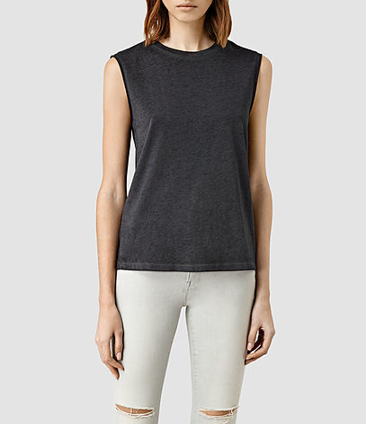 Elm Devo Tank - pattern: plain; sleeve style: sleeveless; style: vest top; predominant colour: charcoal; occasions: casual; length: standard; fibres: cotton - mix; fit: body skimming; neckline: crew; sleeve length: sleeveless; pattern type: fabric; texture group: jersey - stretchy/drapey; season: s/s 2016; wardrobe: basic