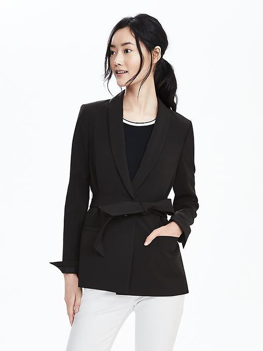 Belted Shawl Blazer Black - pattern: plain; style: single breasted blazer; collar: shawl/waterfall; length: below the bottom; predominant colour: black; occasions: work, creative work; fit: tailored/fitted; fibres: polyester/polyamide - stretch; waist detail: belted waist/tie at waist/drawstring; sleeve length: long sleeve; sleeve style: standard; collar break: medium; pattern type: fabric; texture group: woven light midweight; season: s/s 2016; wardrobe: investment