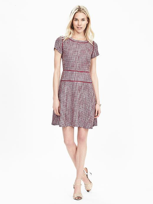 Tweed Fit And Flare Dress Dusty Pink - secondary colour: white; occasions: evening; length: just above the knee; fit: fitted at waist & bust; style: fit & flare; fibres: cotton - mix; neckline: crew; sleeve length: short sleeve; sleeve style: standard; pattern type: fabric; pattern: patterned/print; texture group: tweed - light/midweight; predominant colour: dusky pink; season: s/s 2016; wardrobe: event