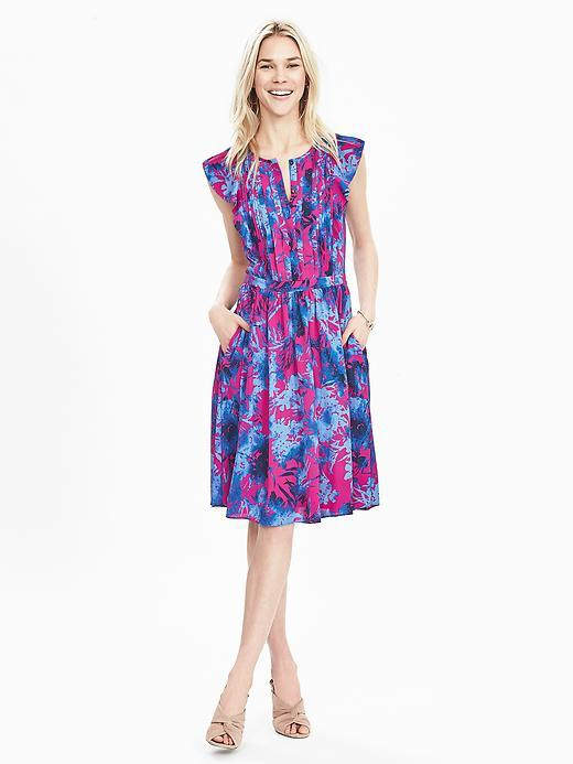 Floral Flutter Sleeve Dress Hot Pink Br F00 - style: shift; length: below the knee; neckline: v-neck; sleeve style: capped; secondary colour: hot pink; predominant colour: royal blue; occasions: casual, creative work; fit: body skimming; fibres: cotton - mix; sleeve length: short sleeve; pattern type: fabric; pattern: florals; texture group: woven light midweight; multicoloured: multicoloured; season: s/s 2016; wardrobe: highlight