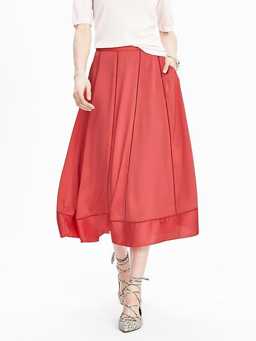 Midi Sweep Skirt Perfect Coral - length: calf length; pattern: plain; style: full/prom skirt; fit: loose/voluminous; waist: mid/regular rise; predominant colour: coral; occasions: evening; fibres: polyester/polyamide - 100%; pattern type: fabric; texture group: other - light to midweight; season: s/s 2016