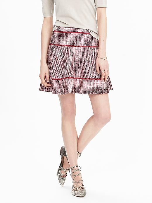Tiered Tweed Skirt Dusty Pink - length: mid thigh; fit: body skimming; pattern: herringbone/tweed; waist: mid/regular rise; occasions: casual; style: a-line; fibres: cotton - mix; pattern type: fabric; texture group: other - light to midweight; predominant colour: dusky pink; season: s/s 2016; wardrobe: highlight
