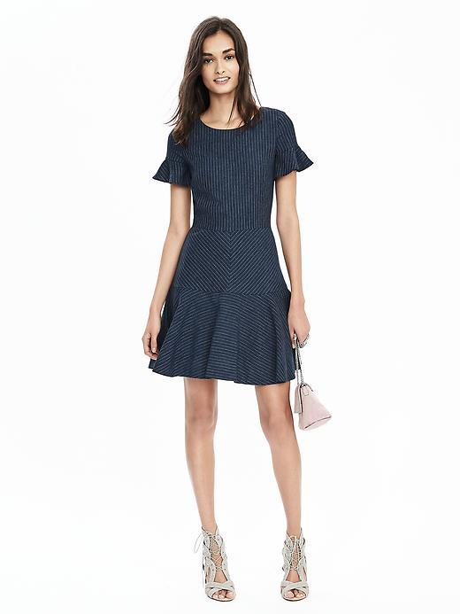 Pinstripe Flutter Sleeve Dress Blue Stripe - pattern: plain; predominant colour: navy; occasions: evening; length: just above the knee; fit: fitted at waist & bust; style: fit & flare; fibres: linen - mix; neckline: crew; sleeve length: short sleeve; sleeve style: standard; pattern type: fabric; texture group: woven light midweight; season: s/s 2016
