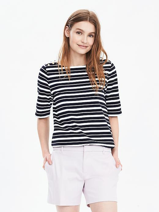 Stripe Boatneck Top Preppy Navy - pattern: horizontal stripes; style: t-shirt; secondary colour: white; predominant colour: black; occasions: casual, creative work; length: standard; fibres: cotton - stretch; fit: straight cut; neckline: crew; sleeve length: short sleeve; sleeve style: standard; trends: monochrome; pattern type: fabric; pattern size: standard; texture group: jersey - stretchy/drapey; season: s/s 2016; wardrobe: basic