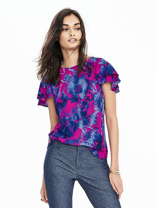 Print Flutter Sleeve Top Hot Pink Br F00 - sleeve style: angel/waterfall; style: blouse; predominant colour: magenta; secondary colour: royal blue; occasions: casual, creative work; length: standard; fibres: polyester/polyamide - 100%; fit: straight cut; neckline: crew; sleeve length: short sleeve; pattern type: fabric; pattern size: standard; pattern: florals; texture group: woven light midweight; multicoloured: multicoloured; season: s/s 2016; wardrobe: highlight