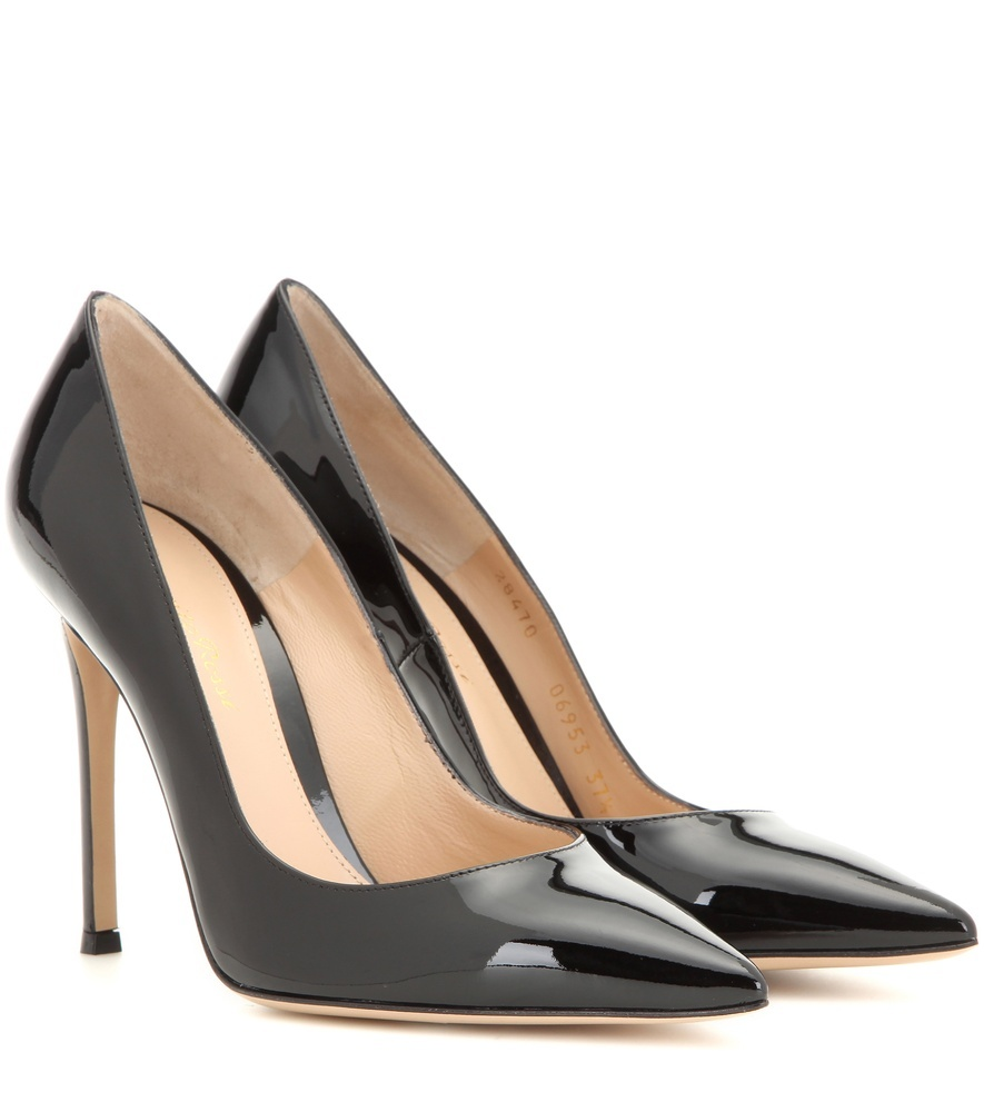 Gianvito 105 Patent Leather Pumps - predominant colour: black; occasions: evening, occasion; material: leather; heel height: high; heel: stiletto; toe: pointed toe; style: courts; finish: patent; pattern: plain; season: s/s 2016