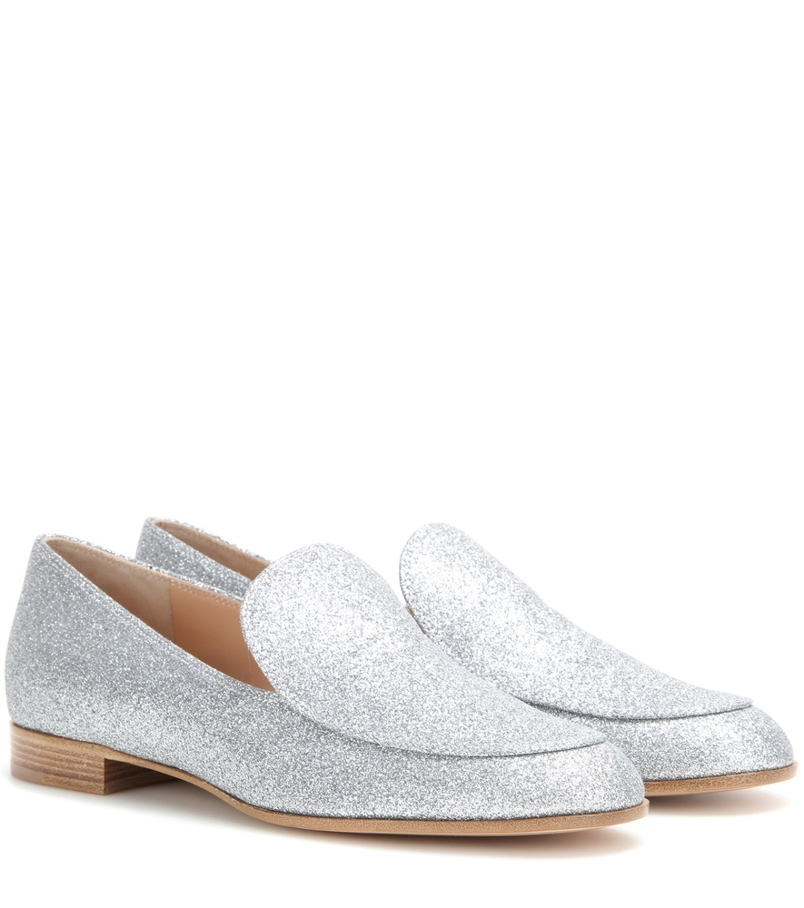 Marcel Glitter Moccasins - predominant colour: silver; occasions: evening; material: leather; heel height: flat; embellishment: glitter; toe: round toe; style: moccasins; finish: metallic; pattern: plain; season: s/s 2016