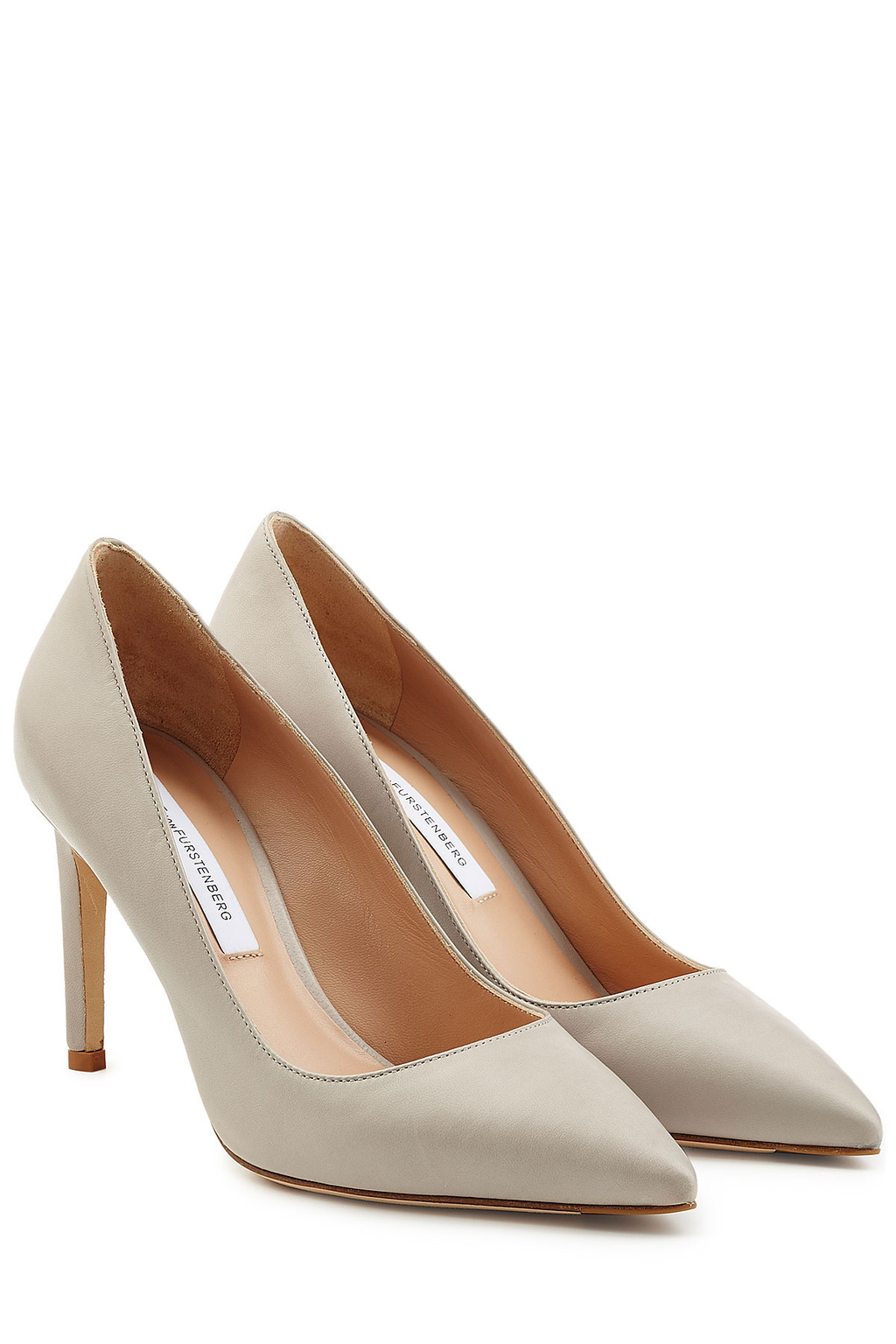 Leather Pointy Toe London Pumps Grey - predominant colour: light grey; occasions: evening; material: leather; heel height: high; heel: stiletto; toe: pointed toe; style: courts; finish: plain; pattern: plain; season: s/s 2016; wardrobe: event