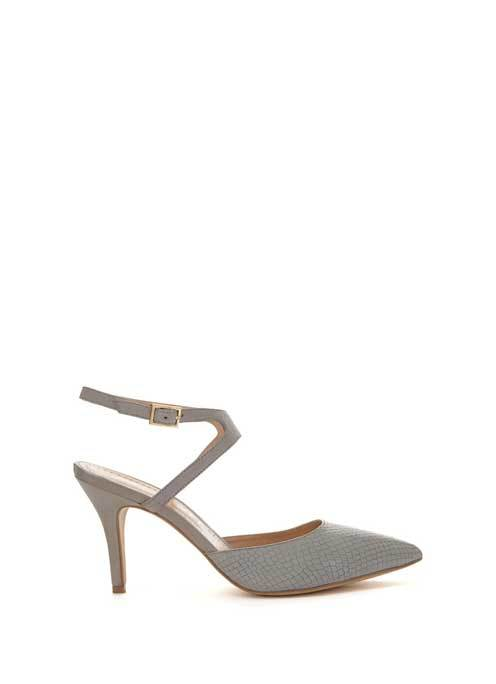 Grey Haven Cut Out Court - predominant colour: mid grey; occasions: evening, occasion; material: leather; heel height: high; ankle detail: ankle strap; heel: stiletto; toe: pointed toe; style: slingbacks; finish: plain; pattern: plain; season: s/s 2016; wardrobe: event