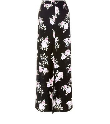 Black Rose Print Split Side Maxi Skirt - fit: body skimming; waist: mid/regular rise; secondary colour: ivory/cream; predominant colour: black; occasions: evening; length: floor length; style: maxi skirt; fibres: viscose/rayon - 100%; pattern type: fabric; pattern: florals; texture group: jersey - stretchy/drapey; multicoloured: multicoloured; season: s/s 2016; wardrobe: event