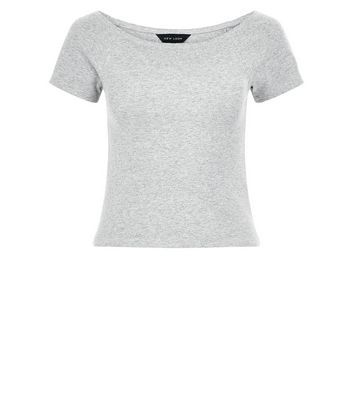 Grey Ribbed Bardot Neck Top - neckline: slash/boat neckline; pattern: plain; length: cropped; predominant colour: light grey; occasions: casual, creative work; style: top; fibres: cotton - stretch; fit: body skimming; sleeve length: short sleeve; sleeve style: standard; pattern type: fabric; texture group: jersey - stretchy/drapey; season: s/s 2016; wardrobe: basic