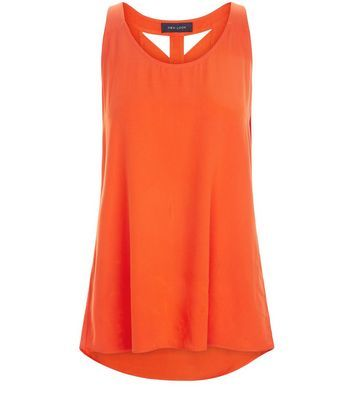 Bright Orange Lattice Back Shell Top - neckline: round neck; pattern: plain; sleeve style: sleeveless; back detail: low cut/open back; predominant colour: bright orange; occasions: casual; length: standard; style: top; fibres: polyester/polyamide - 100%; fit: loose; sleeve length: sleeveless; pattern type: fabric; texture group: jersey - stretchy/drapey; season: s/s 2016
