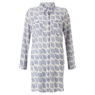 Pineapple Print Long Shirt, Blue - neckline: shirt collar/peter pan/zip with opening; style: shirt; bust detail: subtle bust detail; predominant colour: ivory/cream; secondary colour: navy; occasions: casual, creative work; fibres: cotton - 100%; fit: loose; length: mid thigh; sleeve length: long sleeve; sleeve style: standard; texture group: cotton feel fabrics; pattern type: fabric; pattern size: standard; pattern: patterned/print; season: s/s 2016; wardrobe: highlight