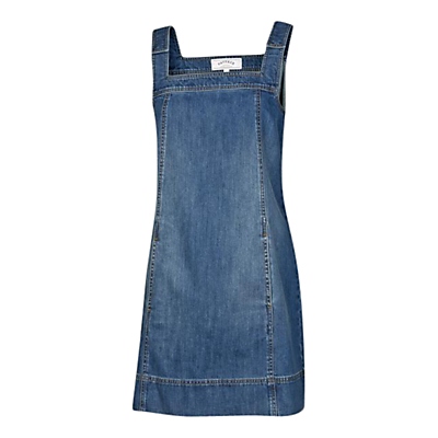 Denim Lyla Dress, Blue - length: mid thigh; pattern: plain; sleeve style: sleeveless; style: dungaree dress/pinafore; predominant colour: denim; occasions: casual; fit: body skimming; fibres: cotton - 100%; sleeve length: sleeveless; texture group: denim; neckline: low square neck; pattern type: fabric; season: s/s 2016; wardrobe: highlight