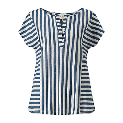 Striped Jersey Top, Blue - neckline: round neck; sleeve style: capped; pattern: striped; secondary colour: ivory/cream; predominant colour: navy; occasions: casual, creative work; length: standard; style: top; fibres: linen - 100%; fit: loose; sleeve length: short sleeve; texture group: linen; pattern type: fabric; pattern size: standard; season: s/s 2016; wardrobe: highlight