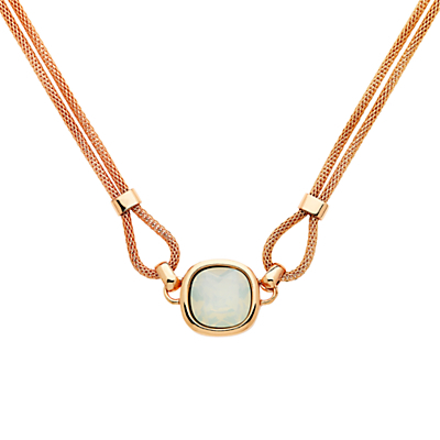 Double Mesh Glass Crystal Necklace, Rose Gold/Opal - predominant colour: gold; occasions: evening, occasion; style: pendant; length: mid; size: standard; material: chain/metal; finish: metallic; embellishment: jewels/stone; season: s/s 2016; wardrobe: event
