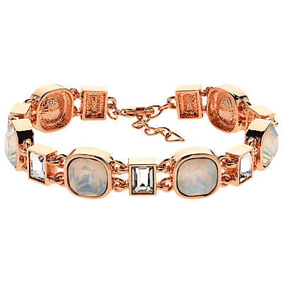 Cushion And Baguette Glass Crystal Bracelet - predominant colour: gold; occasions: evening, occasion; style: chain; size: standard; material: chain/metal; finish: metallic; embellishment: jewels/stone; season: s/s 2016; wardrobe: event