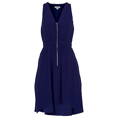 Zip Front Dress, Navy - style: shift; length: mid thigh; neckline: v-neck; fit: fitted at waist; pattern: plain; sleeve style: sleeveless; predominant colour: navy; occasions: casual; fibres: viscose/rayon - 100%; sleeve length: sleeveless; pattern type: fabric; texture group: woven light midweight; season: s/s 2016; wardrobe: basic; embellishment location: bust