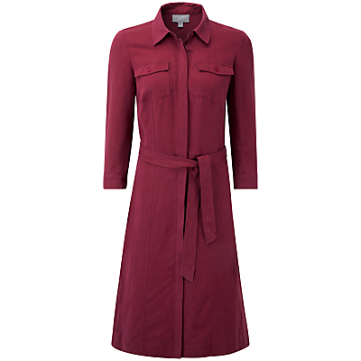 Alexandra Shirt Dress, Summer Claret - style: shirt; neckline: shirt collar/peter pan/zip with opening; fit: tailored/fitted; pattern: plain; bust detail: pocket detail at bust; waist detail: belted waist/tie at waist/drawstring; occasions: evening, creative work; length: on the knee; fibres: silk - mix; sleeve length: 3/4 length; sleeve style: standard; pattern type: fabric; texture group: woven light midweight; predominant colour: raspberry; season: s/s 2016; wardrobe: highlight