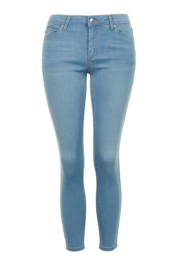 Petite Moto Bleach Leigh Jeans - style: skinny leg; length: standard; pattern: plain; pocket detail: traditional 5 pocket; waist: mid/regular rise; predominant colour: pale blue; occasions: casual; fibres: cotton - stretch; texture group: denim; pattern type: fabric; season: s/s 2016; wardrobe: basic