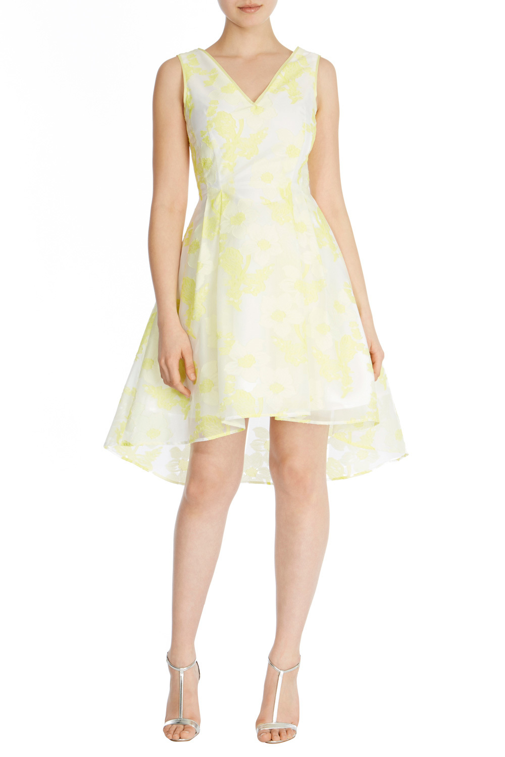 Pippa May Jacquard Dress - neckline: v-neck; sleeve style: sleeveless; style: prom dress; predominant colour: primrose yellow; secondary colour: primrose yellow; occasions: evening; length: just above the knee; fit: fitted at waist & bust; fibres: polyester/polyamide - mix; sleeve length: sleeveless; pattern type: fabric; pattern: florals; texture group: brocade/jacquard; season: s/s 2016; wardrobe: event