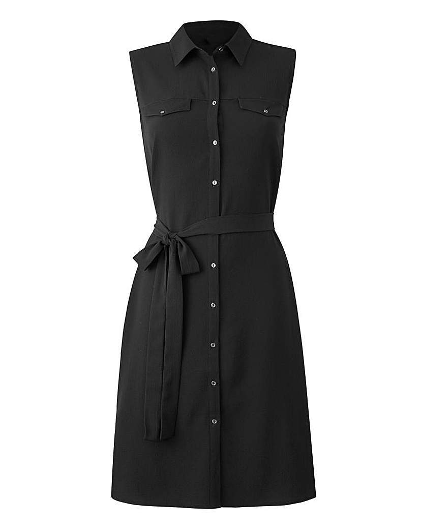 Black Button Sleeveless Shirt Dress - style: shirt; neckline: shirt collar/peter pan/zip with opening; pattern: plain; sleeve style: sleeveless; bust detail: pocket detail at bust; waist detail: belted waist/tie at waist/drawstring; predominant colour: black; occasions: casual; length: just above the knee; fit: body skimming; fibres: polyester/polyamide - stretch; sleeve length: sleeveless; texture group: crepes; pattern type: fabric; season: s/s 2016; wardrobe: basic