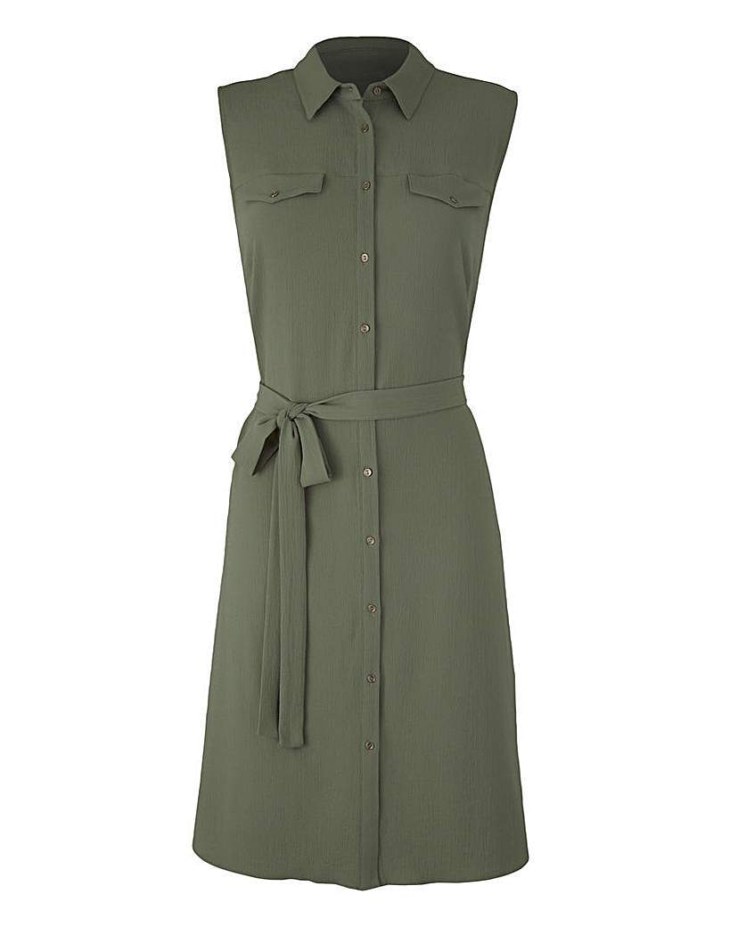 Khaki Button Sleeveless Shirt Dress - style: shirt; neckline: shirt collar/peter pan/zip with opening; pattern: plain; sleeve style: sleeveless; waist detail: belted waist/tie at waist/drawstring; predominant colour: khaki; occasions: casual; length: just above the knee; fit: body skimming; fibres: polyester/polyamide - stretch; sleeve length: sleeveless; texture group: crepes; pattern type: fabric; season: s/s 2016; wardrobe: basic
