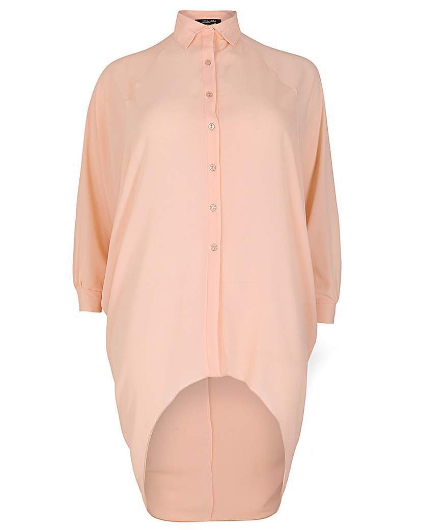 Feverfish Chiffon Bubble Shirt - neckline: shirt collar/peter pan/zip with opening; pattern: plain; length: below the bottom; style: shirt; predominant colour: nude; occasions: casual; fibres: polyester/polyamide - stretch; fit: body skimming; sleeve length: long sleeve; sleeve style: standard; texture group: sheer fabrics/chiffon/organza etc.; pattern type: fabric; season: s/s 2016; wardrobe: basic