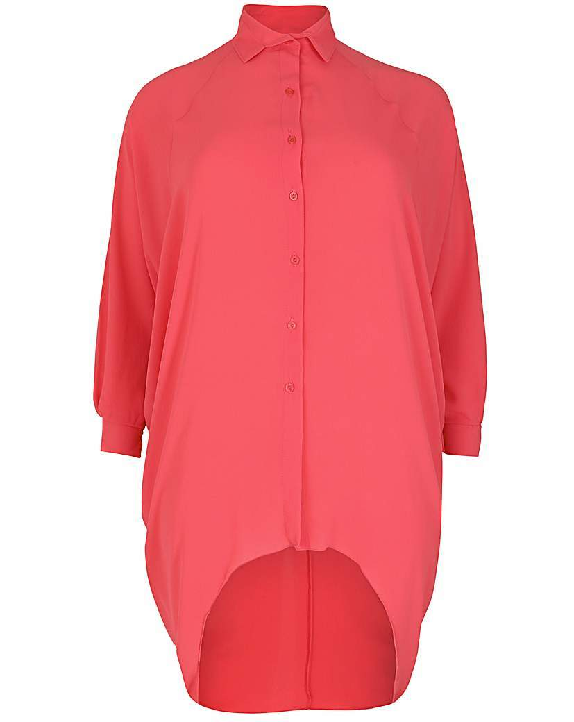 Feverfish Chiffon Bubble Shirt - neckline: shirt collar/peter pan/zip with opening; pattern: plain; length: below the bottom; style: shirt; predominant colour: coral; occasions: casual; fibres: polyester/polyamide - stretch; fit: body skimming; sleeve length: long sleeve; sleeve style: standard; texture group: crepes; pattern type: fabric; season: s/s 2016; wardrobe: highlight