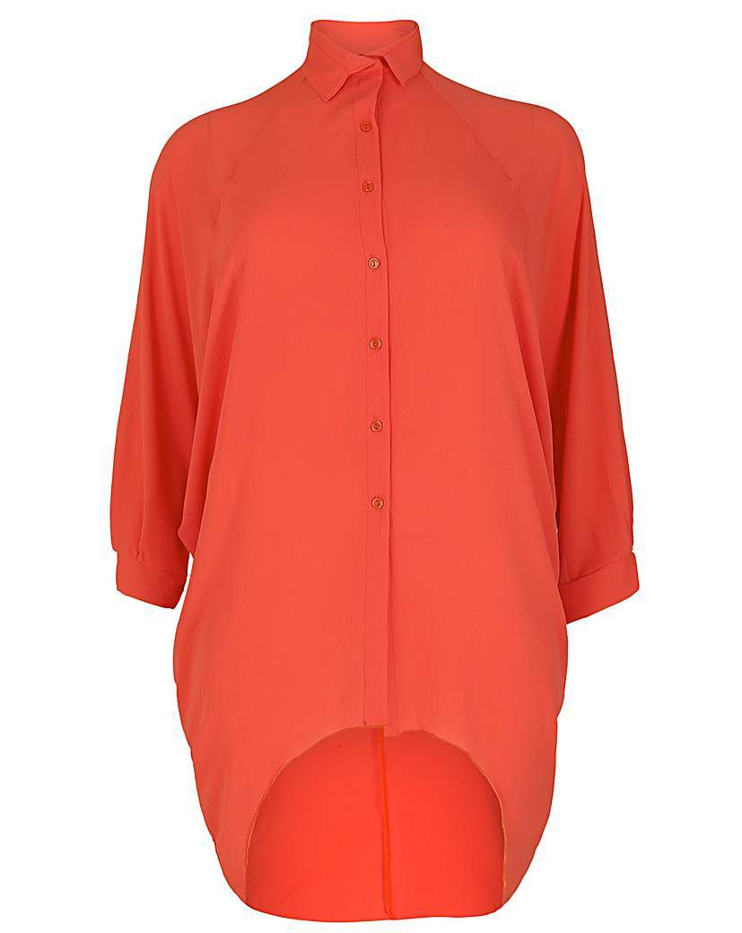 Feverfish Chiffon Bubble Shirt - neckline: shirt collar/peter pan/zip with opening; pattern: plain; length: below the bottom; style: shirt; predominant colour: true red; occasions: casual; fibres: polyester/polyamide - stretch; fit: body skimming; sleeve length: long sleeve; sleeve style: standard; texture group: sheer fabrics/chiffon/organza etc.; pattern type: fabric; season: s/s 2016; wardrobe: highlight