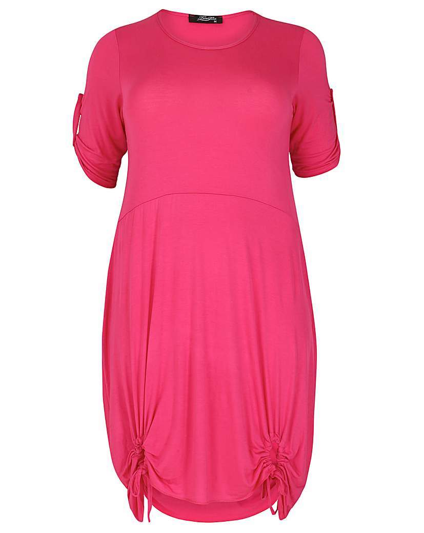 Feverfish Tie Loop Tunic - pattern: plain; style: tunic; predominant colour: hot pink; occasions: casual; fibres: viscose/rayon - stretch; fit: body skimming; neckline: crew; length: mid thigh; sleeve length: short sleeve; sleeve style: standard; pattern type: fabric; texture group: other - light to midweight; season: s/s 2016; wardrobe: highlight