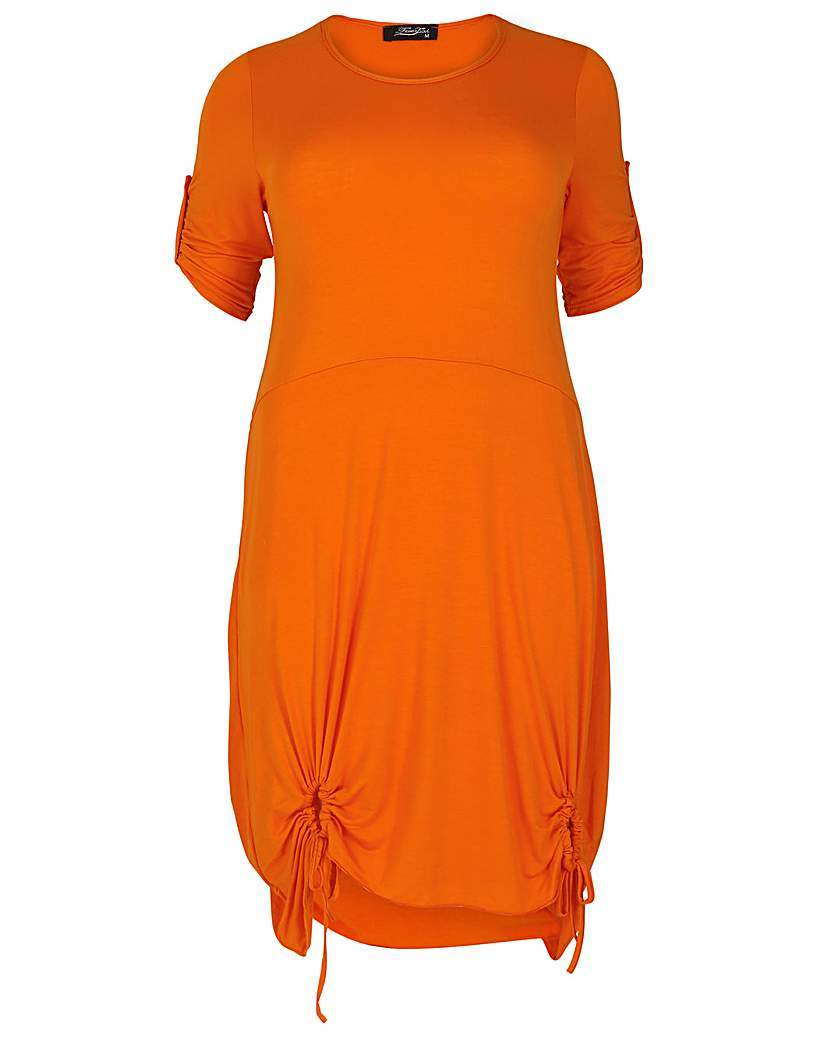 Feverfish Tie Loop Tunic - pattern: plain; length: below the bottom; style: tunic; predominant colour: bright orange; occasions: casual; fibres: viscose/rayon - stretch; fit: body skimming; neckline: crew; sleeve length: short sleeve; sleeve style: standard; pattern type: fabric; texture group: jersey - stretchy/drapey; season: s/s 2016; wardrobe: highlight