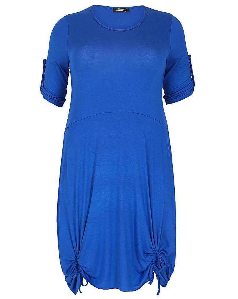 Feverfish Tie Loop Tunic - pattern: plain; style: tunic; predominant colour: royal blue; occasions: casual; fibres: viscose/rayon - stretch; fit: body skimming; neckline: crew; length: mid thigh; sleeve length: short sleeve; sleeve style: standard; pattern type: fabric; texture group: jersey - stretchy/drapey; season: s/s 2016; wardrobe: highlight