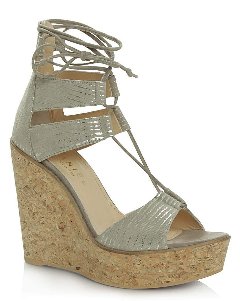 Daniel New England Beige Leather Wedge - predominant colour: stone; occasions: casual, holiday; material: leather; heel height: high; ankle detail: ankle tie; heel: wedge; toe: open toe/peeptoe; style: strappy; finish: metallic; pattern: plain; shoe detail: platform; season: s/s 2016; wardrobe: investment