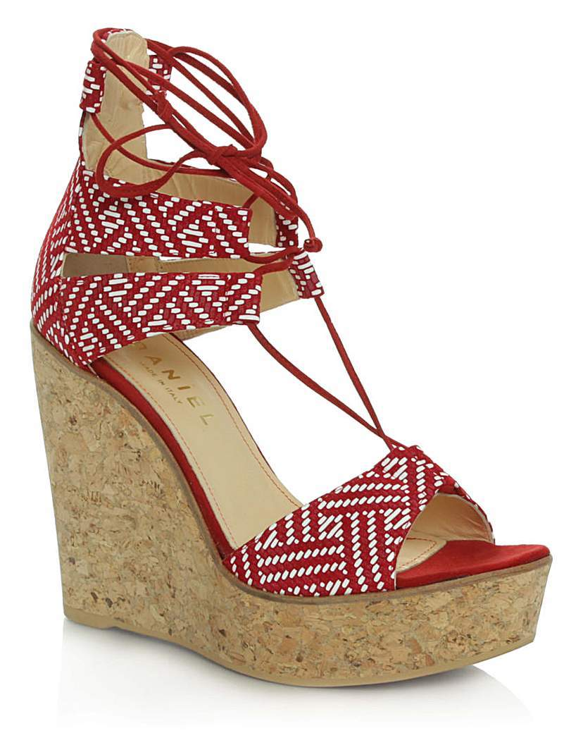 Daniel New England Red Leather Wedge - secondary colour: white; predominant colour: true red; occasions: casual, holiday; material: leather; heel height: high; ankle detail: ankle tie; heel: wedge; toe: open toe/peeptoe; style: strappy; finish: plain; pattern: patterned/print; shoe detail: platform; multicoloured: multicoloured; season: s/s 2016; wardrobe: highlight