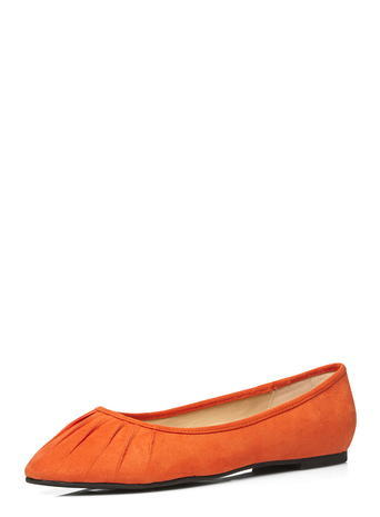 Womens Evans Orange Suedette Ruched Toe Pumps, Orange - predominant colour: bright orange; occasions: casual; heel height: flat; toe: pointed toe; style: ballerinas / pumps; finish: plain; pattern: plain; material: faux suede; season: s/s 2016; wardrobe: highlight