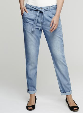 Womens Chambray Trousers, Blue, Lightwash - pattern: plain; style: peg leg; waist detail: belted waist/tie at waist/drawstring; waist: mid/regular rise; predominant colour: pale blue; occasions: casual; length: ankle length; fibres: cotton - mix; jeans & bottoms detail: turn ups; texture group: denim; fit: tapered; pattern type: fabric; season: s/s 2016; wardrobe: highlight
