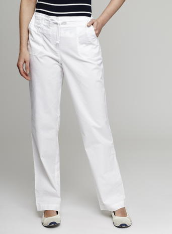 Womens Great Value Sheeting Trousers, White, White - length: standard; pattern: plain; waist detail: belted waist/tie at waist/drawstring; waist: mid/regular rise; predominant colour: white; occasions: casual; fibres: cotton - 100%; texture group: cotton feel fabrics; fit: straight leg; pattern type: fabric; style: standard; season: s/s 2016