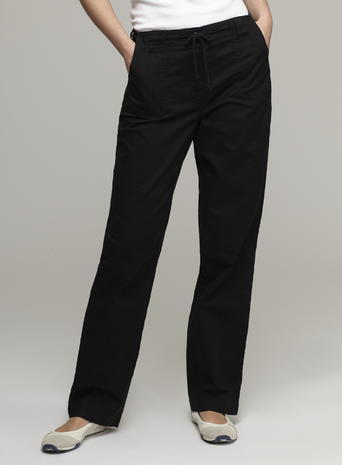 Womens Great Value Sheeting Trousers, Black, Black - length: standard; pattern: plain; waist detail: belted waist/tie at waist/drawstring; waist: mid/regular rise; predominant colour: black; occasions: casual, creative work; fibres: cotton - 100%; texture group: cotton feel fabrics; fit: straight leg; pattern type: fabric; style: standard; season: s/s 2016; wardrobe: basic