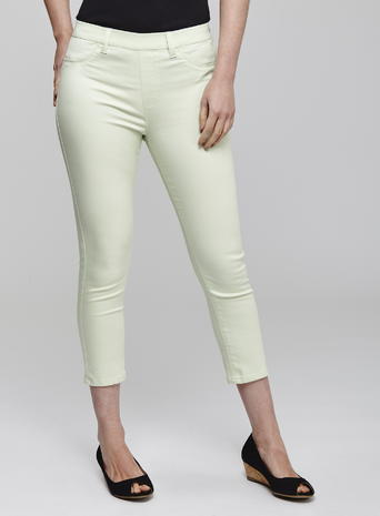 Womens Super Stretch Crop Jeggings, Green, Green - style: skinny leg; pattern: plain; waist: mid/regular rise; predominant colour: pistachio; occasions: casual; length: calf length; fibres: cotton - stretch; texture group: denim; pattern type: fabric; season: s/s 2016