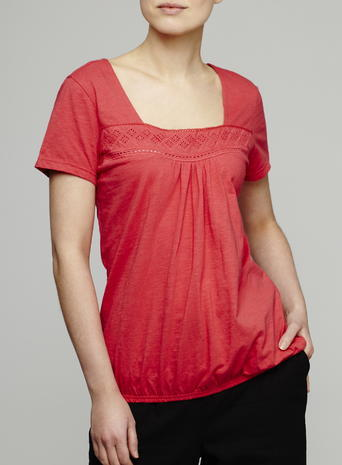 Womens Bubble Hem Crochet Top, Red, Red - pattern: plain; predominant colour: coral; occasions: casual; length: standard; style: top; fibres: cotton - 100%; fit: body skimming; sleeve length: short sleeve; sleeve style: standard; neckline: medium square neck; pattern type: fabric; texture group: jersey - stretchy/drapey; embellishment: embroidered; season: s/s 2016