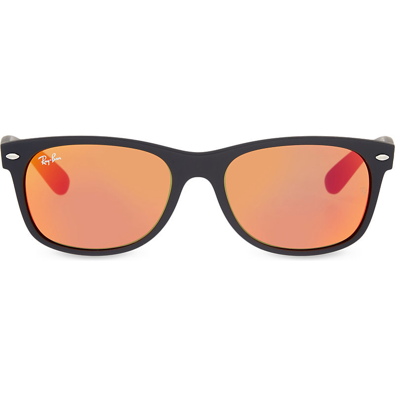 Rb2132 New Wayfarer Rubber Sunglasses, Women's, Black - secondary colour: coral; predominant colour: black; occasions: casual, holiday; style: d frame; size: standard; material: plastic/rubber; pattern: plain; finish: plain; season: s/s 2016; wardrobe: basic