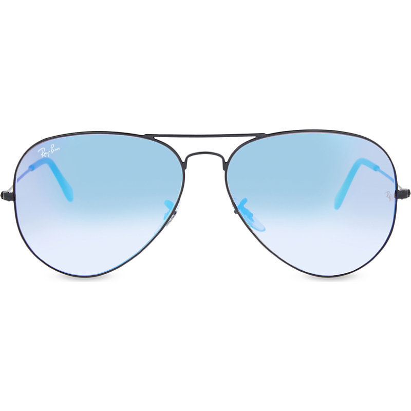 Rb3025 Aviator Sunglasses, Women's, Shiny Black - secondary colour: pale blue; predominant colour: black; occasions: casual, holiday, creative work; style: aviator; size: standard; material: chain/metal; pattern: plain; finish: plain; season: s/s 2016; wardrobe: basic