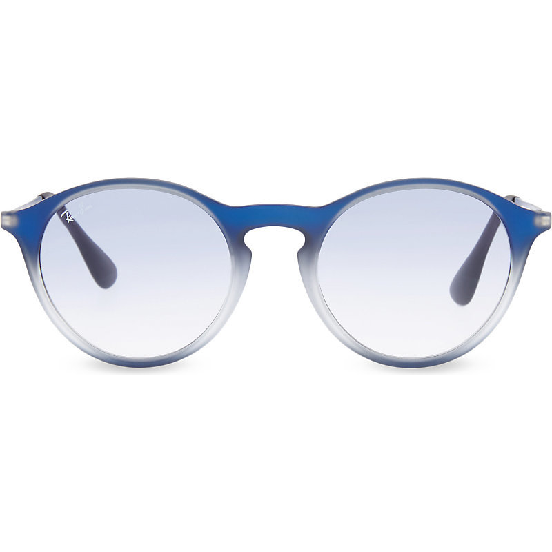Rb4243 Round Phantos Sunglasses, Women's, Blue On Black - predominant colour: diva blue; occasions: casual, holiday; style: round; size: standard; material: plastic/rubber; pattern: plain; finish: plain; season: s/s 2016; wardrobe: highlight