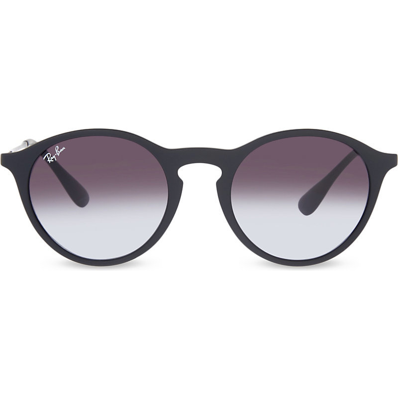 Rb4243 Rubber Phantos Sunglasses, Women's, Rubber Black - predominant colour: black; style: round; size: standard; material: plastic/rubber; pattern: plain; occasions: holiday; finish: plain; season: s/s 2016; wardrobe: basic