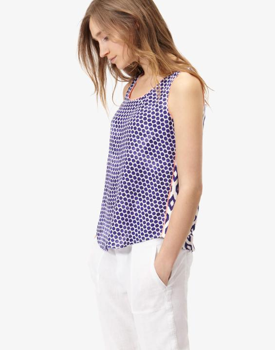 Bright White Ink Ikat Iris Jersey Woven Mix Top Size 20 | Uk - neckline: round neck; sleeve style: sleeveless; secondary colour: white; predominant colour: navy; occasions: casual; length: standard; style: top; fibres: viscose/rayon - 100%; fit: body skimming; sleeve length: sleeveless; pattern type: fabric; pattern size: standard; pattern: patterned/print; texture group: woven light midweight; multicoloured: multicoloured; season: s/s 2016; wardrobe: highlight