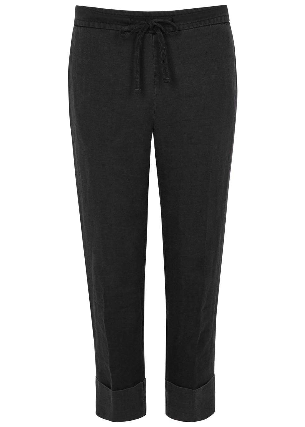 Charcoal Cropped Linen Trousers - pattern: plain; waist detail: belted waist/tie at waist/drawstring; waist: mid/regular rise; predominant colour: charcoal; occasions: casual; length: ankle length; fibres: cotton - 100%; fit: tapered; pattern type: fabric; texture group: woven light midweight; style: standard; season: s/s 2016; wardrobe: basic